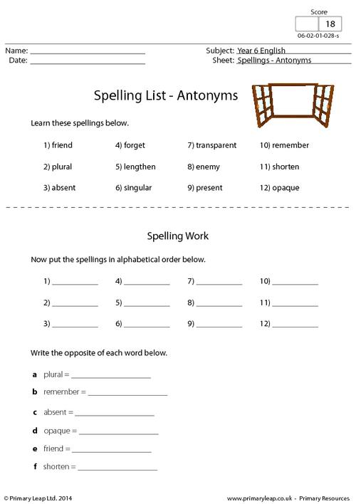 Spelling List - Antonyms