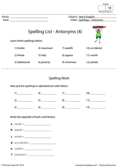 Spelling List - Antonyms (4)