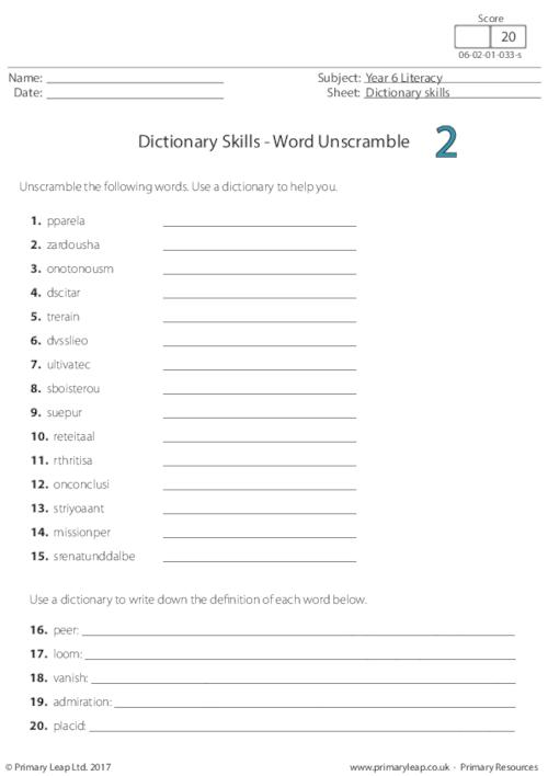 Dictionary Skills - Word Unscramble 2