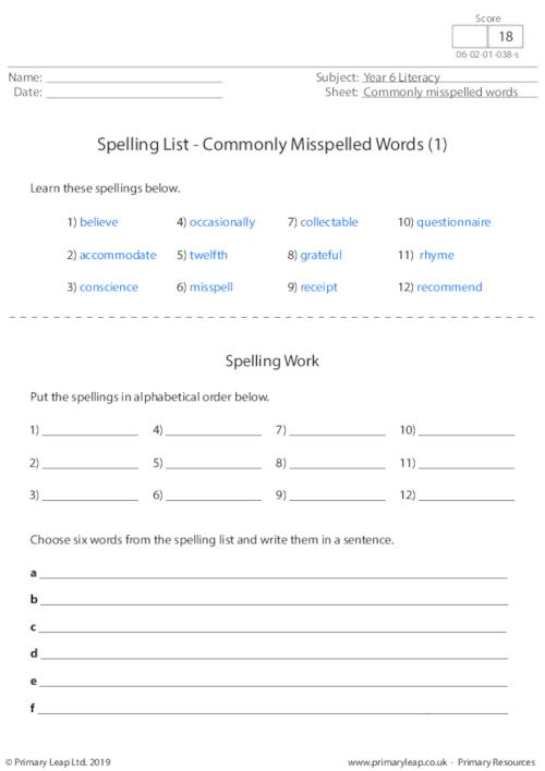 Spellings - Commonly Misspelled Words 1