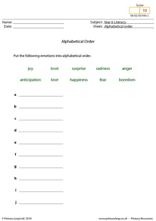 Alphabetical order 2 - Emotions
