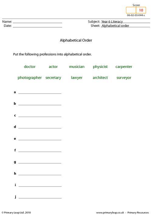 Alphabetical order 3 - Professions