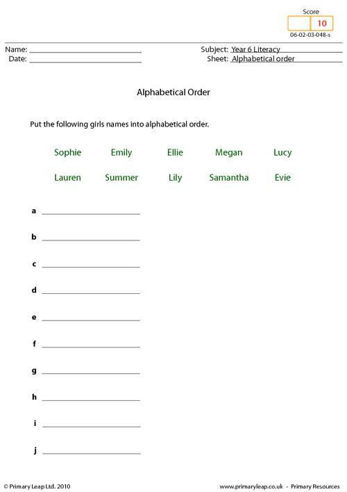 Alphabetical order 7 - Girl names