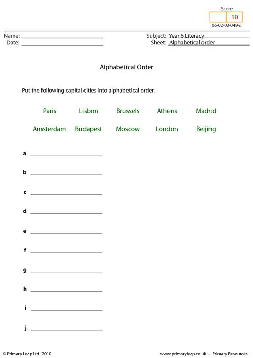 Alphabetical order 8 - Capital cities