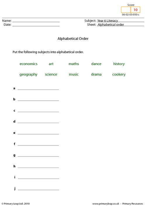 Alphabetical order 9 - Subjects