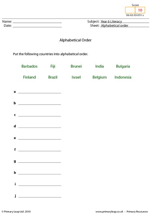 Alphabetical order 10 - Countries