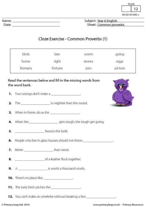 Cloze Exercise - Common Proverbs (1)
