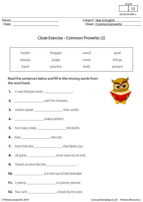 Cloze Exercise - Common Proverbs (2)
