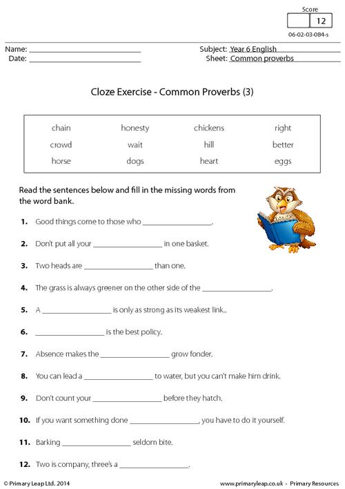 Cloze Exercise - Common Proverbs (3)