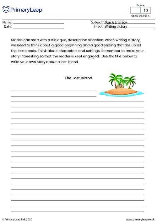 Writing a story - The lost island