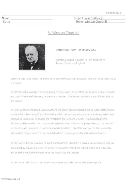 Reading comprehension - Winston Churchill
