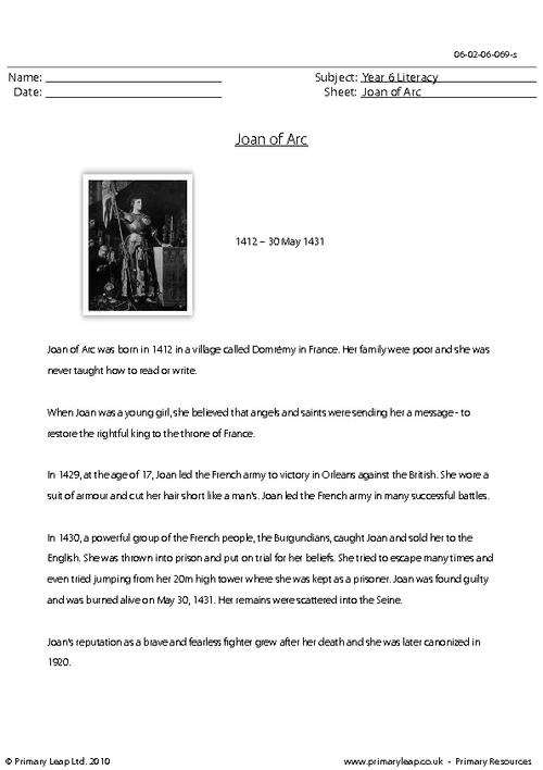 Reading comprehension - Joan of Arc