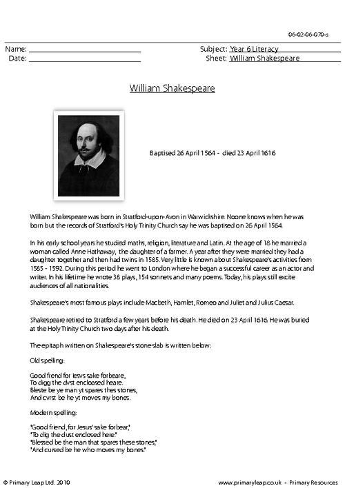 Reading comprehension - William Shakespeare