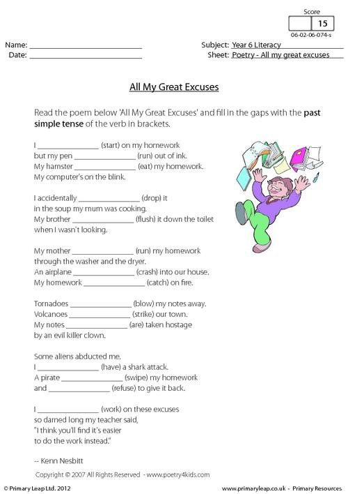 Poetry - All My Great Excuses
