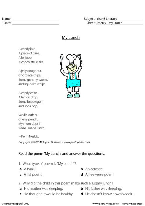 Comprehension - My Lunch