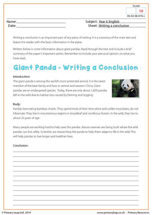 Writing a Conclusion - Giant Panda