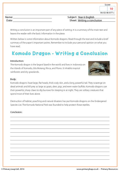 Writing a Conclusion - Komodo Dragon