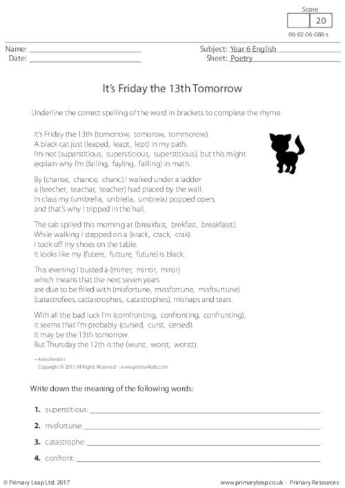 Poetry - It's Friday the 13th Tomorrow