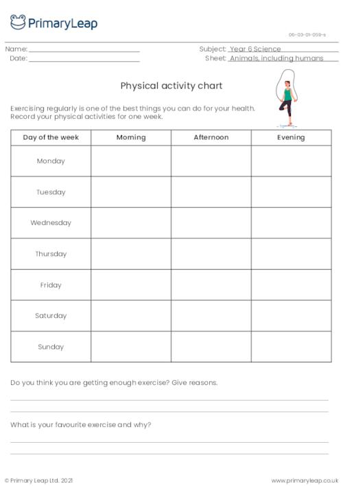 Physical activity chart
