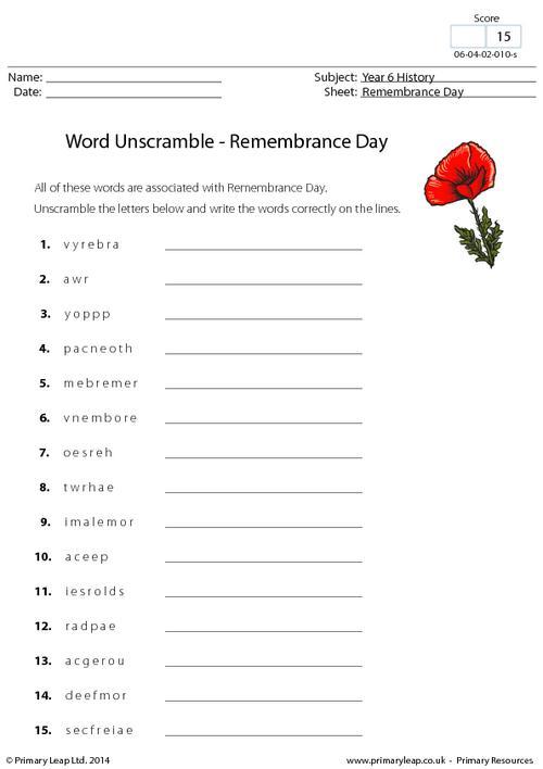 Word Unscramble - Remembrance Day