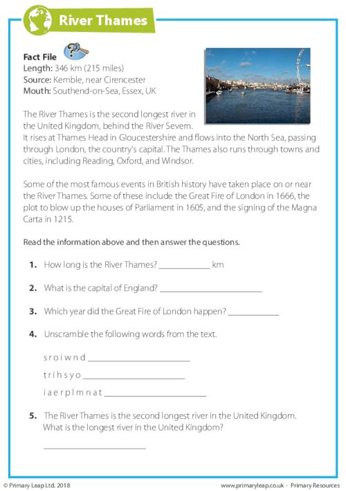 Reading Comprehension - The River Thames