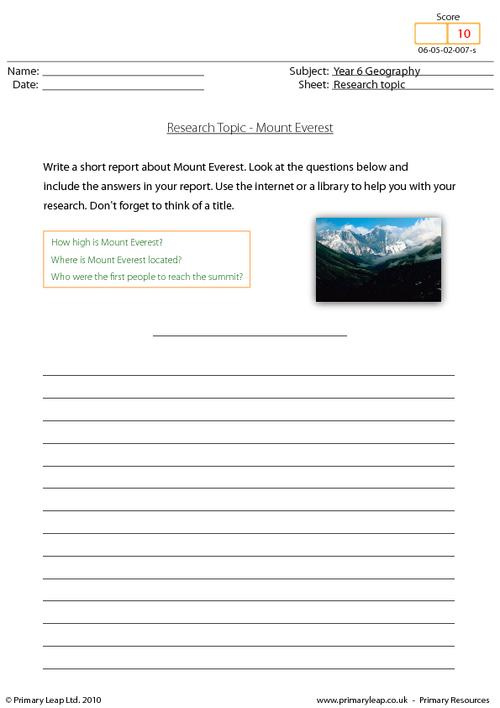 Research topic - Mount Everest