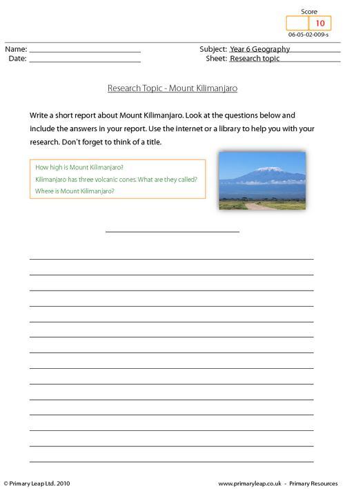 Research topic - Mount Kilimanjaro
