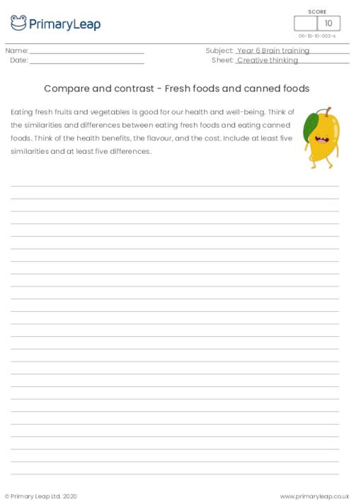 Compare and contrast - Fresh foods and canned foods