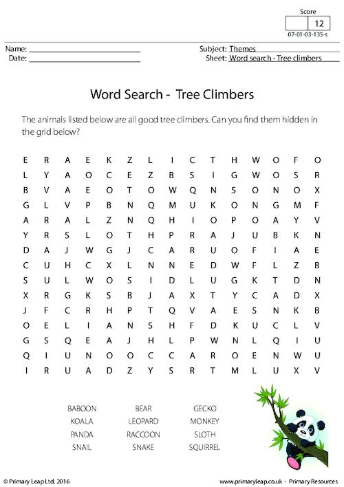 Word Search - Tree Climbers