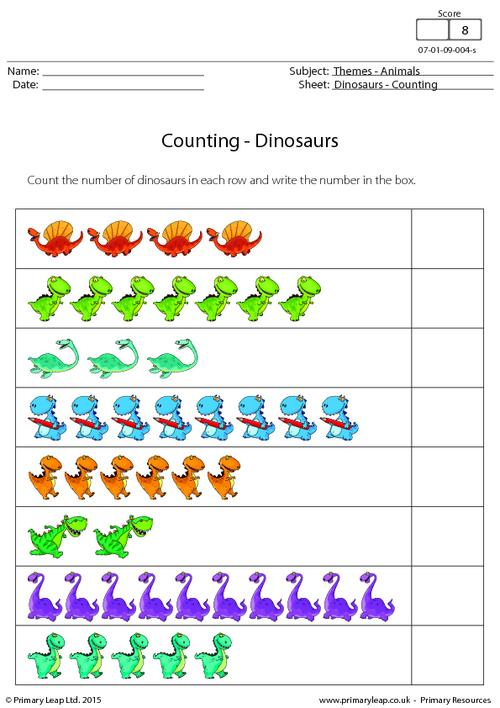 the number of dinosaurs in each row and write the number ...