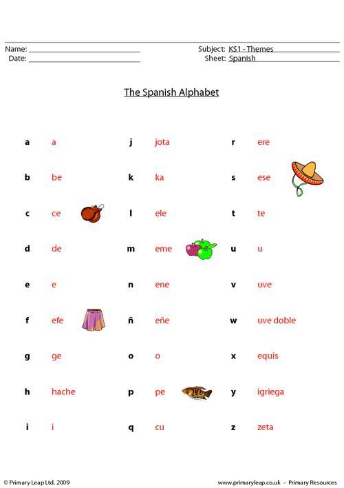 Spanish: Spanish Alphabet Worksheet PrimaryLeap.co.uk