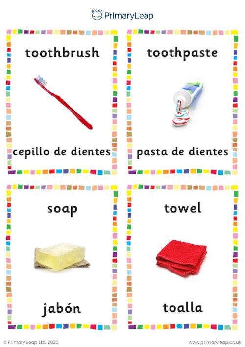 English to Spanish flashcards -  Bathroom objects