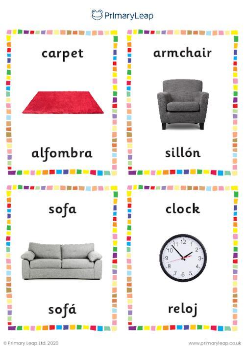 Spanish English To Spanish Flashcards Living Room Objects Worksheet Primaryleap Co Uk