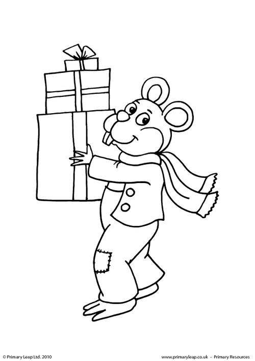 Colouring picture - Mouse carrying presents