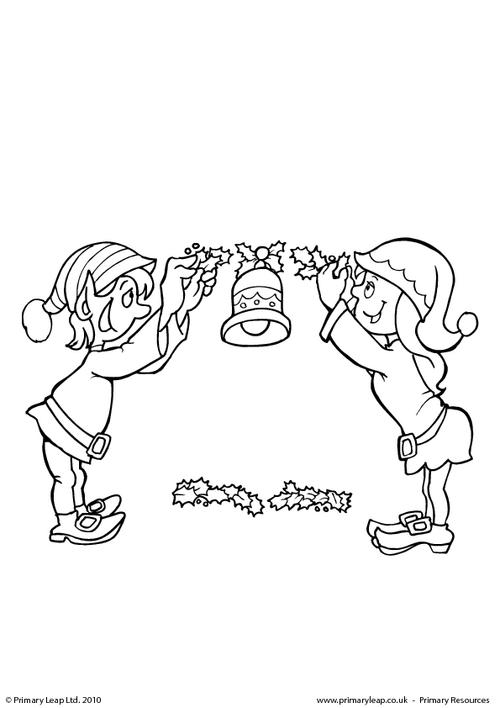 Colouring picture - Elves with holly
