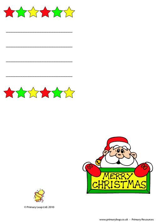 Christmas card - Santa holding sign