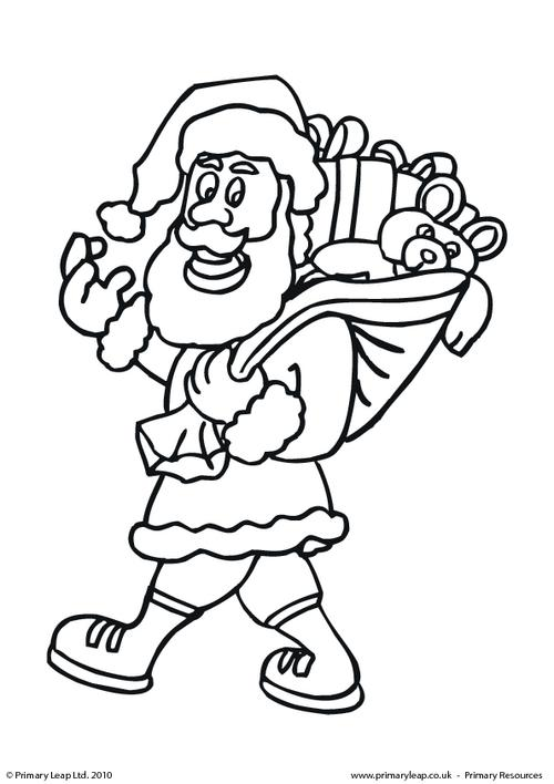 Colouring picture - Santa holding a sack