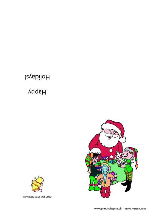 Christmas card - Santa and his helpers
