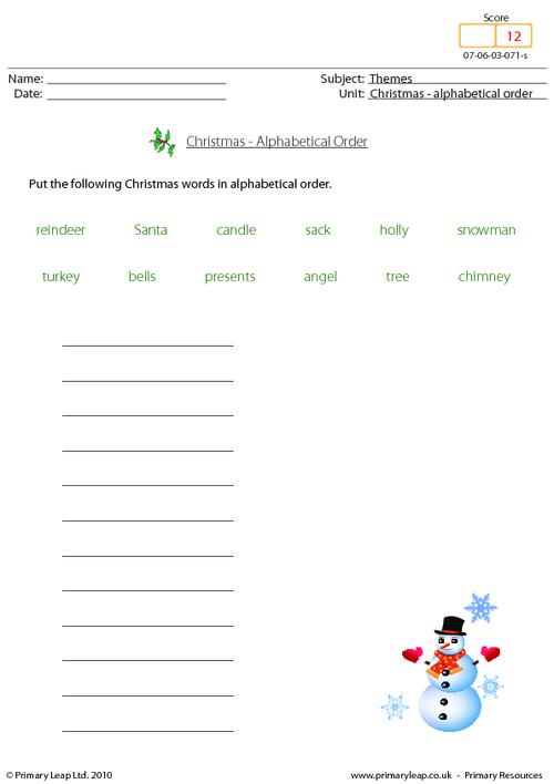 Christmas - alphabetical order