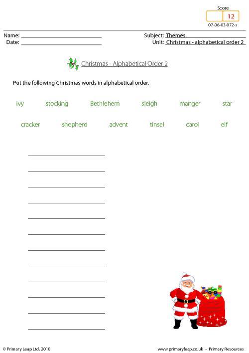Christmas - alphabetical order 2