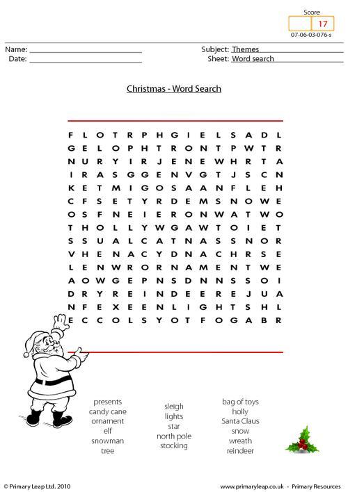 Christmas - word search