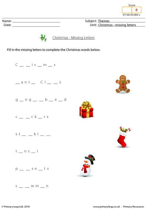Christmas - missing letters