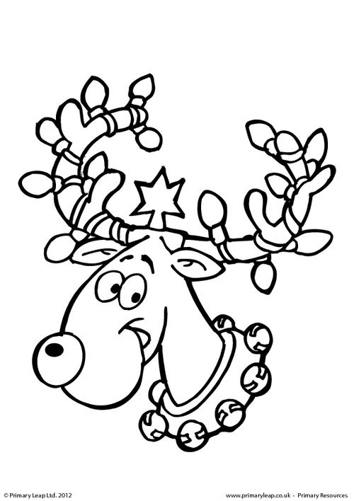 Colouring picture - Reindeer with Christmas lights
