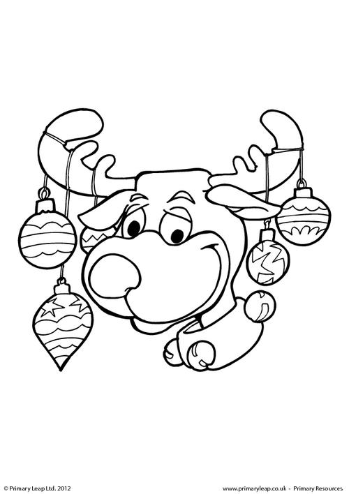 Colouring picture - Reindeer with baubles