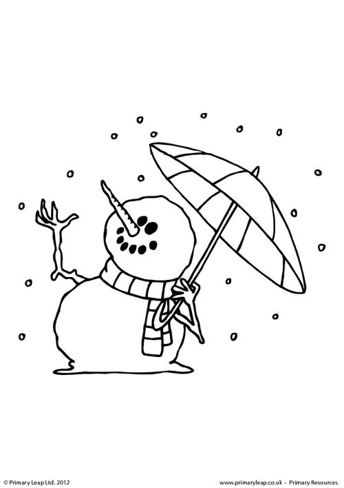 Colouring picture - Snowman with an umbrella