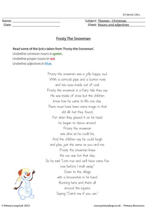 Christmas - Frosty's nouns and adjectives