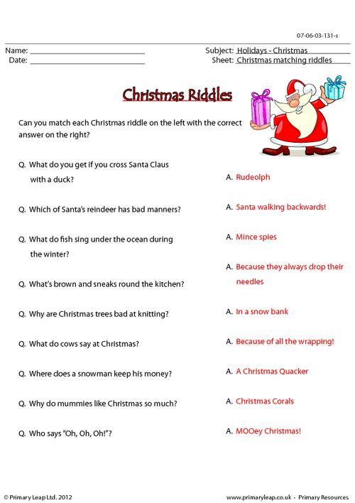 Christmas riddles - Matching