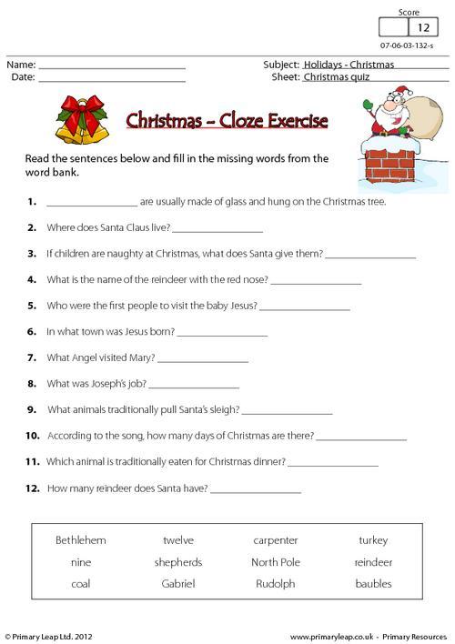 Christmas - Cloze exercise