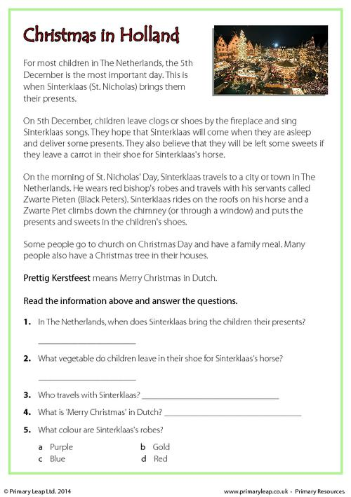 Reading comprehension - Christmas in Holland