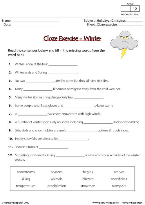 Cloze Exercise - Winter
